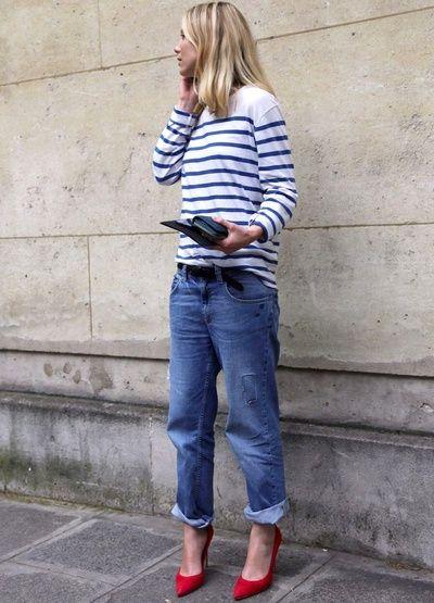 porter un jean boyfriend avec des escarpins corail