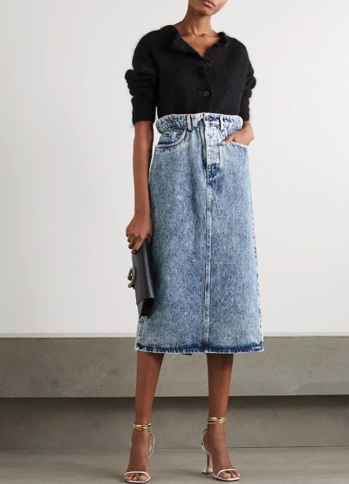 porter la jupe   jean mi- longue