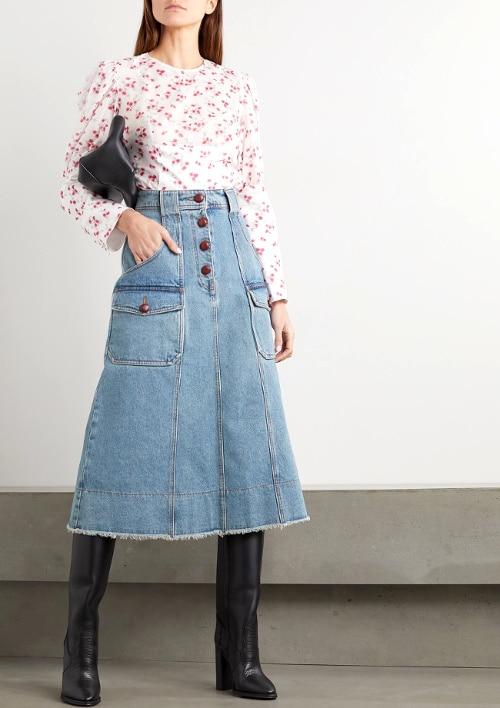 porter la jupe jean mi-longue